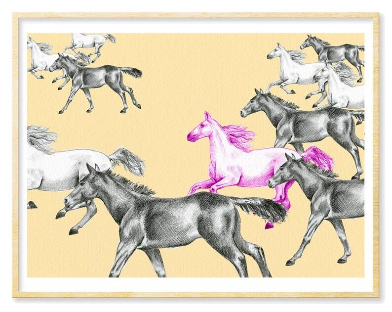 Pferdekunst Pferdesport Geschenk Illustration Print Pferde Etsy