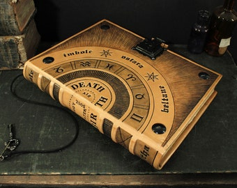 Leather Journal / Large Magic Book with Lock and Key - Wheel of the Year