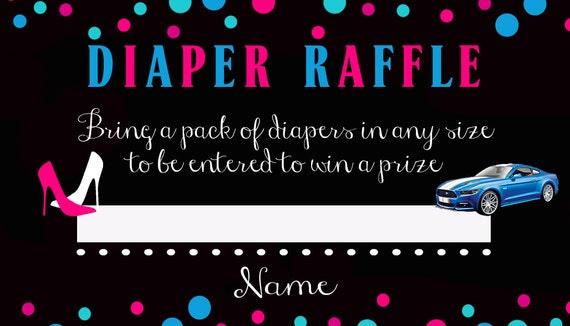 heels or wheels diaper raffle ticket printable etsy