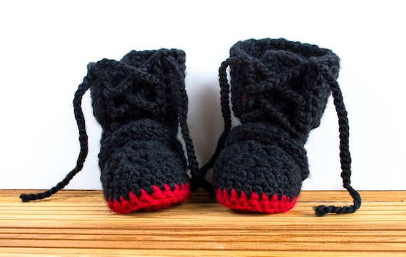 949a38a37bfd Black Booty Crochet Baby Shoes Cozy Slippers Baby Boy