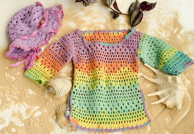 569663880035 Knit Baby Sweater Hippie Baby Clothes Pastel Rainbow Crochet
