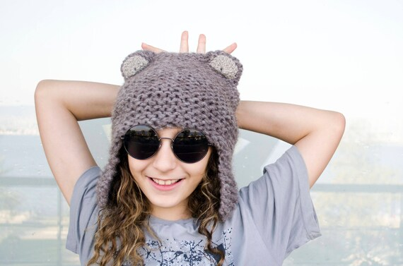 Bear Ear Winter Hat Animal Ear Hats for Babies Mom and Baby  7d07d68136fa