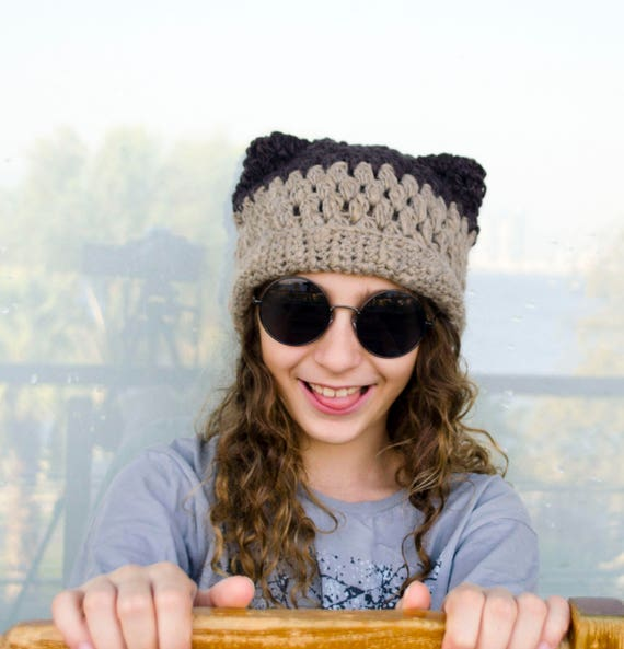 bdb10087538 Funny Winter Hats Animal Ear Beanie Hats Brown Cap with Cat