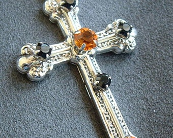 "Vintage Rhinestone & Silver Crucifix / Cross signed ""Best"""