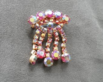Vintage  Brooch... Dangling Drops with Red Tinged Aurora Borealis Rhinestones
