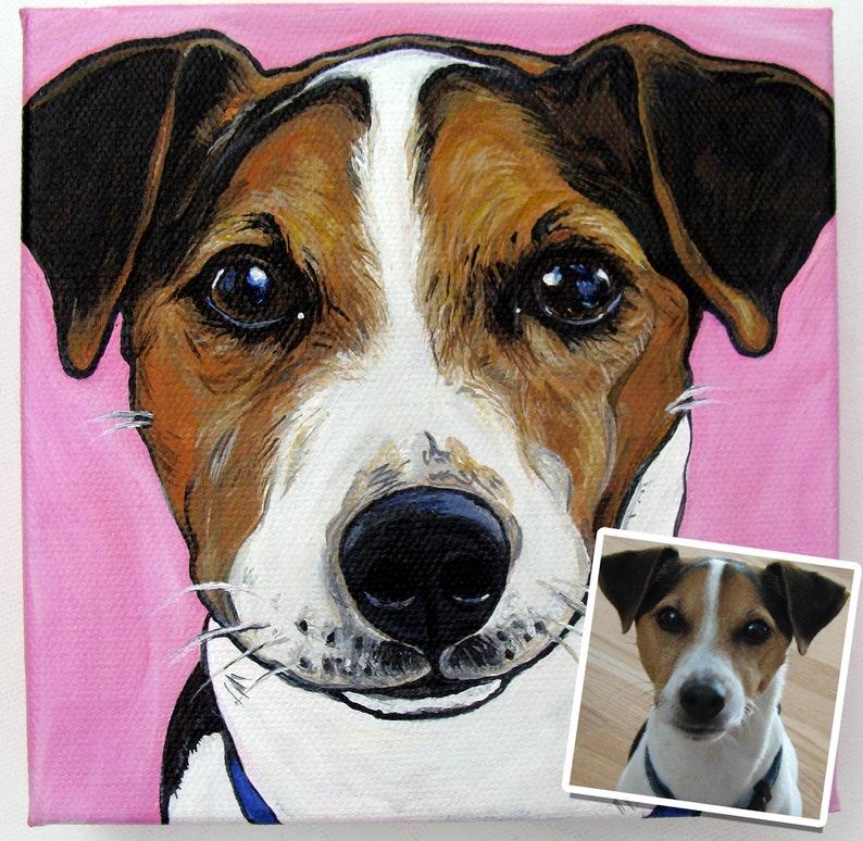 6x6 Custom Pet Portrait Pet Memorial Gifts for dog image 0