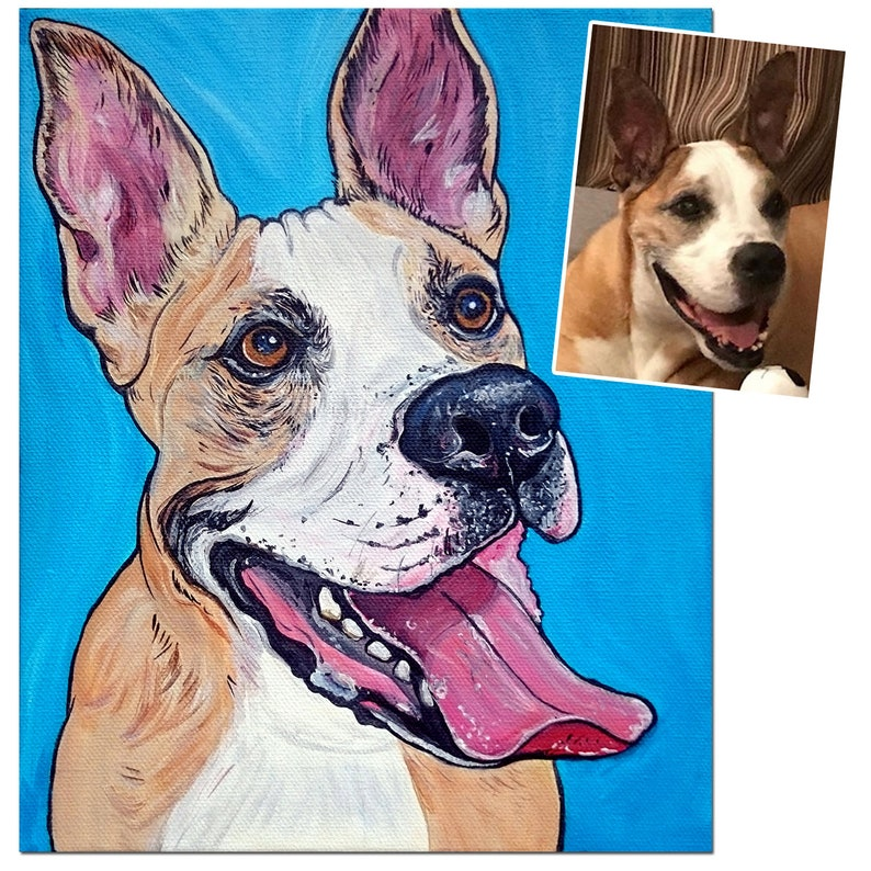 8x10 Custom Pet Portrait Dog Painting Acrylic Original image 0