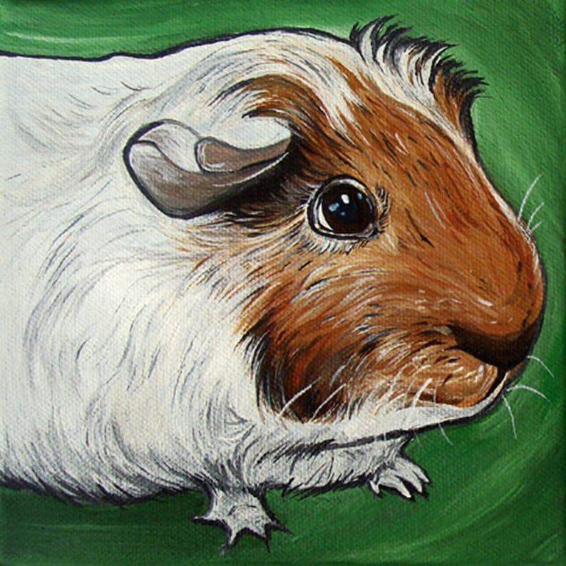 6x6 Custom Guinea Pig Portrait Original Painting Acrylic image 0