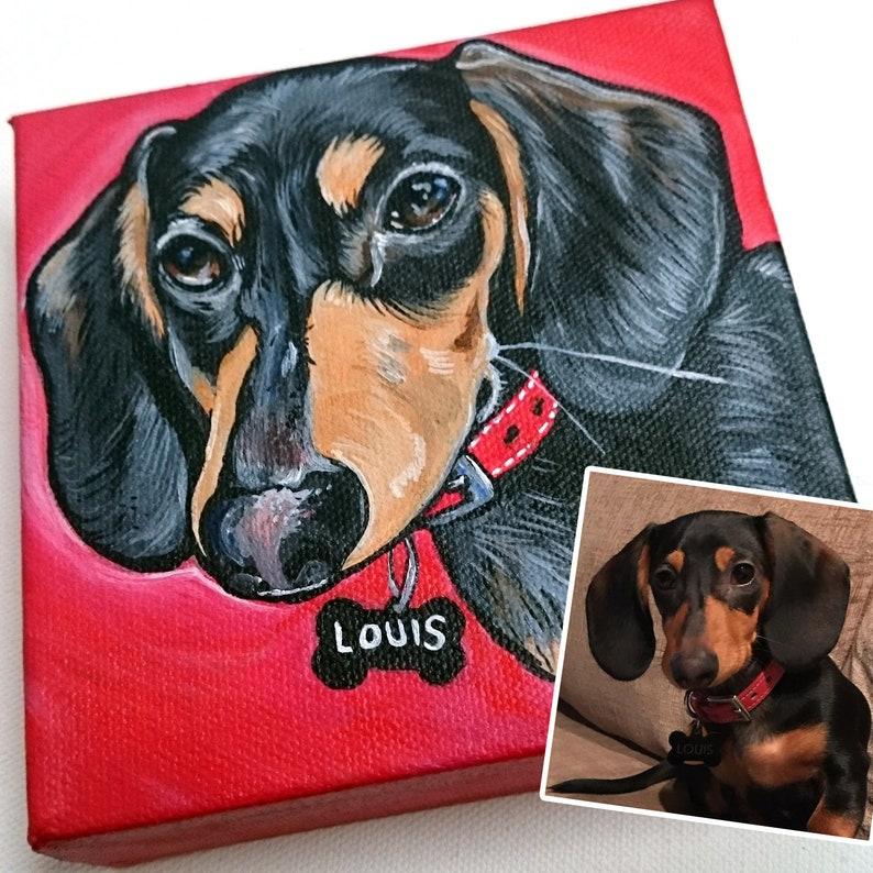 5x5 Custom Dog Painting Pet Portrait Dog Art Free US Shipping image 0