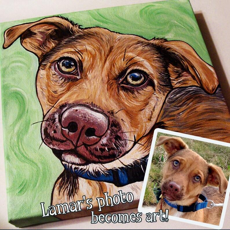 10x10 Custom Pet Portrait Painting Acrylic Pet Portrait image 0