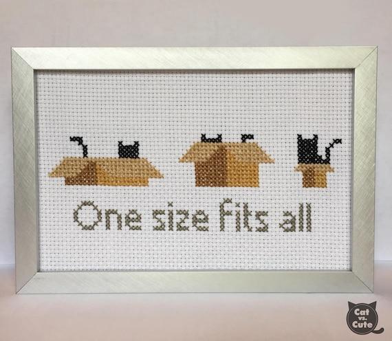 Cat Cross Stitch Pattern One Size Fits All Cardboard Box Etsy