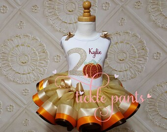 For all sizes - Pumpkin birthday outfit - Our little Pumpkin - Earth Tones - Birthday top and tutu - Can be customized to match your party