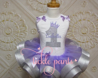 Baby Girls Princess birthday outfit- Lavender purple and sparkling silver- Includes embroidered top and ruffled tutu-  Can be customized