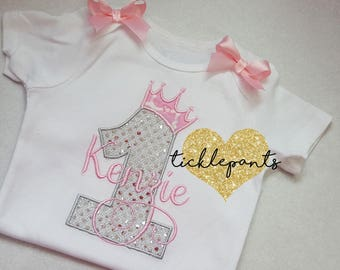 For all sizes - Girls Princess Birthday Shirt - Pink and silver sparkle - Princess Crown Tiara - Full outfit available- Can be customized