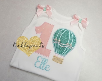 Baby girl's 1st birthday shirt - Hot air balloon - Up up and away! Pink aqua gold - Colors can be changed- Made for all ages and sizes