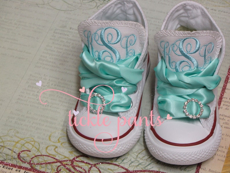 13dedde39bc8e Monogrammed Baby CONVERSE Sneakers with ribbon laces- Made to match all  Tickle Pants Birthday Collections- Infant to big girl
