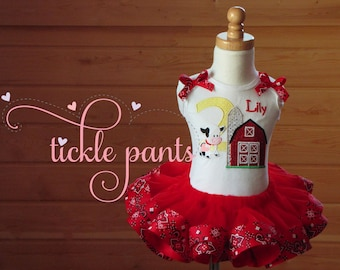 Farm Birthday Outfit - Red with bandana - Baby girls birthday - Includes top, tutu -More animals available- Can be customized