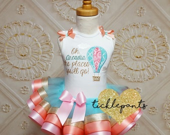 Made for all ages - Oh, The Places You'll Go! Birthday Tutu Outfit - Teal peach pink gold - Includes top and ruffled tutu -Can be customized