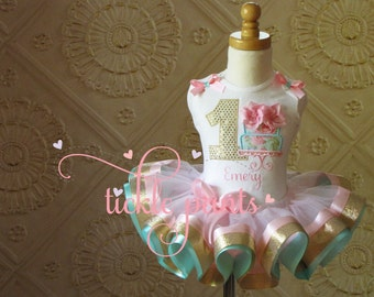 Shabby Chic Birthday Outfit- Pink aqua and gold sparkle - Includes tiered cake with 3d icing shirt and ribbon tutu - Can be customized