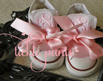 Monogrammed Baby CONVERSE with ribbon laces- Made to matchTickle Pants Birthday Collections- Infant to big girl- LOTS of colors
