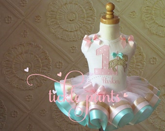 Carousel Tutu Outfit - Baby girls 1st birthday - Pink aqua and sparkling gold- Includes embroidered top and ruffled tutu- Can be customized