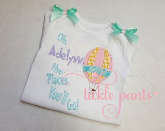 Baby girl's 1st birthday shirt - Oh the Places You'll Go - Lavender aqua pink -  Also available for little boys