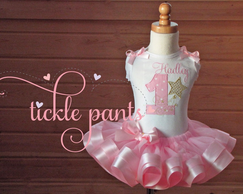 Birthday bloomers Pink and sparkling gold Twinkle Twinkle Little Star Diaper cover