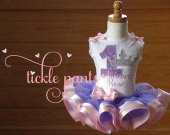 Fairytale Crown Birthday Tutu - Pink lavender- Baby girls 1st birthday - Includes embroidered top and ruffled tutu- Can be customized