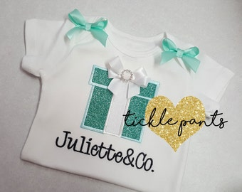 Girl's birthday shirt - AND CO - Baby and Co - Tiff blue - Tons of sparkle - Can be customized- Available for all ages and sizes