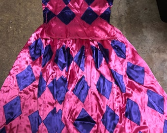 9192bf4716ef Amazing satin antique vintage pink and purple satin harlequin costume