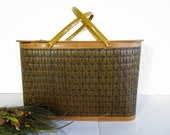 Vintage Brown Woven Picnic Basket or Hamper, Gold Metal Handles, Hinged Lid, Mid Century Charm, Farmhouse