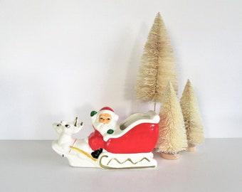 Vintage Santa Claus Sleigh Planter, Mid Century Santa Claus with Reindeer