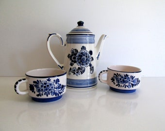 Vintage Blue and White Delft Coffee Pot with Lid, Set of Two Coffee Cups, Hand Painted, Made in Holland