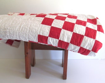 Vintage Quilt Red White Cutter Quilt for Repurposing Christmas Craft Material Shabby Cottage Decor Americana