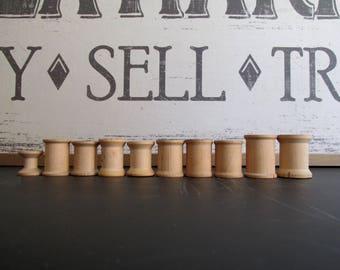 Vintage Wood Thread Spools Natural Color Wood Spools Craft Supply Ten Wood Spools Doll Making