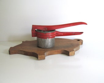 Vintage Potato Ricer, Red Metal, Rustic Farmhouse Decor