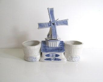 Vintage Delft Porcelain Planter Windmill Double Bloom Rite Planter Blue and White Savings Bank Mid Century Decor