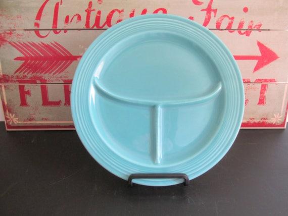 Vintage Fiestaware divisé Grill plaque plaque divisé Turquoise 1940 Fiesta Homer Laughlin