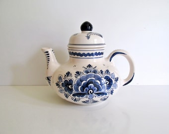 Vintage Delft Teapot Hand Painted Blue and White Flowers No. 751