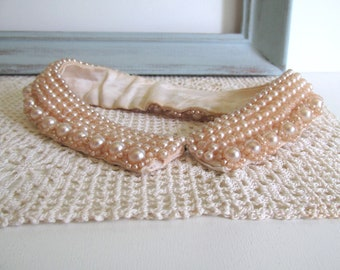 Vintage Faux Pearl Beaded Collar Retro Style Ivory Beaded Collar Mid Century Sweater Girl