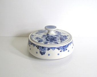 Delft Lidded Bowl Hand Painted Blue and White Flowers No. 6064 Covered Candy Dish Tidbit Bowl