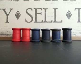 Wood Thread Spools Wood Spools Dark Blue Red Craft Supply Six Wood Spools Doll Making