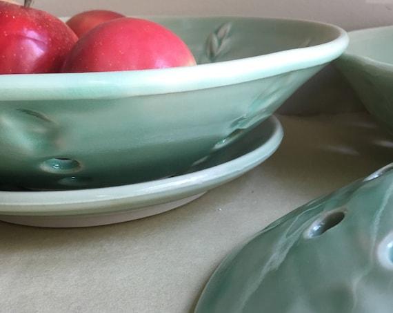 Pottery Fruit Bowl, Colander, Handmade Pottery Fruit Bowl