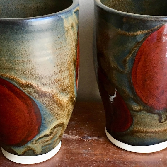 Reserved for Casey, Handmade Pottery Cups, Brown with Red Dots, Tumbler, Mug without handle