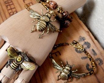 Bee Bracelet, Bee Lover Jewelry, Bumble Bee, Memory Wire Bracelet, Beaded Bracelet, Honey Bee, Made in USA