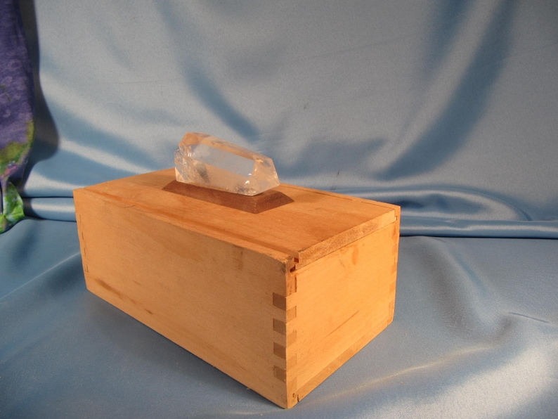 REPURPOSED BOX with QUARTZ Crystal Vintage Box with slide lid embellished with large quartz Crystal,Keepsake sacred object box with crystal