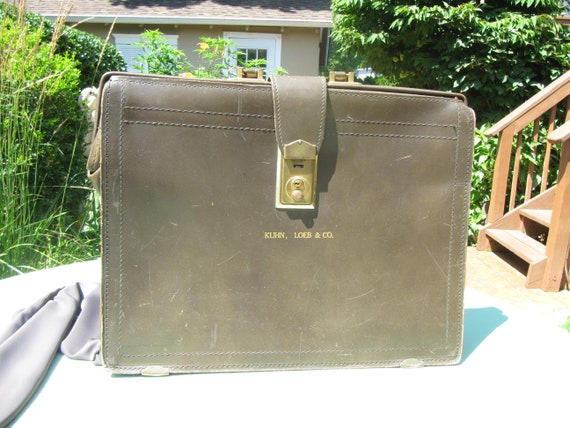 ANTIQUE LEATHER BRIEFCASE, Leather Briefcase,late