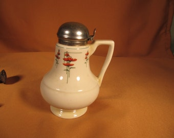 ANTIQUE DECO SYRUP Pitcher,Royal Rochester Royalite Syrup Pitcher Chinaware, Poppy Flower Art Deco Syrup Pitcher Pourer, Chinaware Pitcher