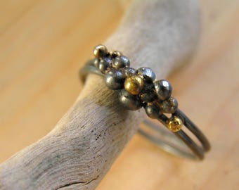Oxidized sterling silver double band bubble ring with gold plated dots. Cluster ring. Granulated ring.