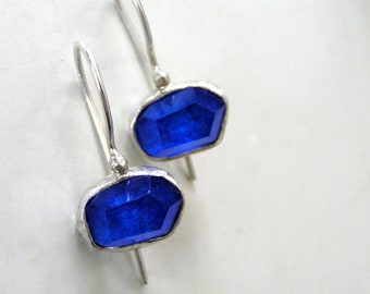 Lapis Lazuli Doublet Sterling Silver Earrings.